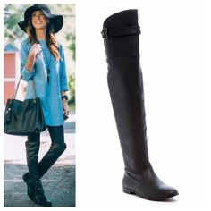 Over-the-knee boot Brand new unworn flat black boot in a tall over-the-knee style. Inside zipper for easy removal. True to size 10, comes in original box by Breckelle's Shoes Over the Knee Boots