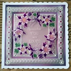 Pearl Osmond design using Groovi plates Parchment Design, Parchment Cards, Flower Plates, Lace Flowers, Paper Cards, Card Ideas, Birthday Cards, Projects To Try, Pearls