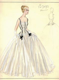 Evening gown sketch by Jacques Heim for Bergdorf Goodman (The Nifty Fifties) Fashion History, Fashion Art, Retro Fashion, Vintage Fashion, Edwardian Fashion, Vintage Dress Patterns, Vintage Dresses, Vintage Outfits, Illustration Mode