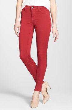 J Brand '485' Mid Rise Super Skinny Jeans (Carnelian) available at #Nordstrom