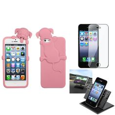 Insten Car Dashboard Holder/ Soft Silicone Skin Phone Case for Apple iPhone 5/ 5S/ SE, #1150323
