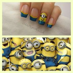 Minions nail art DIY Minion Nails - Despicable Me Nail art