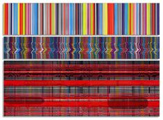 The patterns of Beverly Fishman paintings are transcriptions of EKG, EEG, and neuron spike readouts, with some bar codes thrown in to add a ...