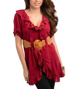 Take a look at this Berry Ruffle-Trim Belted Top by 24|7 Frenzy on #zulily today!