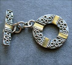 Bali Style Sterling Silver and Brass Toggle Clasp/14mm by lilysoffering, $9.99