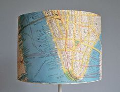 great idea for a lampshade covered in state or city map?