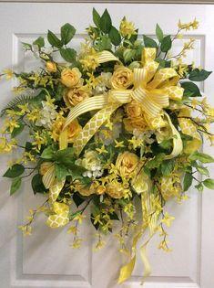 Yellow garden style wreath, Bright yellow door wreath, Spring wreath with yellow roses, yellow door wreath, Mothers day gift, Porch wreath by TammysCreatedDesigns on Etsy