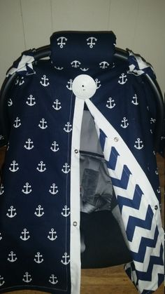 Carseat Canopy Carseat Cover Navy Anchor by fashionfairytales