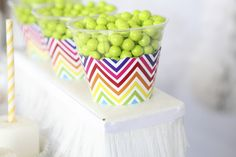 Candy cups at a rainbow chevron birthday party!  See more party ideas at CatchMyParty.com!