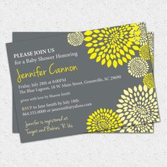 Baby Shower Invitation Gender Neutral Boy or Girl Yellow and Charcoal Grey Floral Modern, DIY Digital File