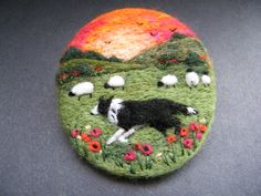 Hanmade Needle Felted Brooch/Gift ' Gwen and the Sunset' by Tracey Dunn Felt Pictures, Felt Embroidery, Felt Brooch, Christmas Makes, Brooches Handmade, Textiles, Felt Ball, Wool Applique, Fabric Jewelry