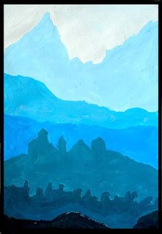 Simple landscape for teaching monochromatic gradient- good for intro to painting classes, might be adapted for La Limonada fundraiser