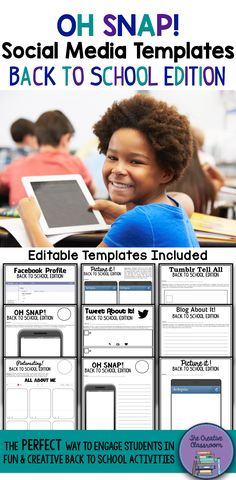 Are you looking for a way to engage your students in a fun and creative real world activity during the first few days of Back to School? Look no further than the Oh Snap! Editable Social Media Templates that are designed for any content area in middle or high school classrooms. Teachers will LOVE that this product is little to no prep with a set of 9 pre-designed social media templates. In addition, there is also a set of 9 editable social media templates.