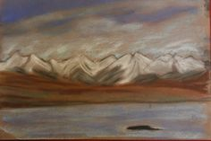 Snowy mountains by Barbara Singleton, pastels.