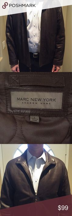 Genuine Leather Marc New York Jacket Brown size large (approx 42) genuine leather jacket with zipper. Smoke free home. Worn twice. Excellent condition. Andrew Marc Jackets & Coats