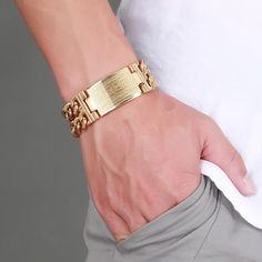 Cheap bracelets for, Buy Quality bracelet for men directly from China chain bangle Suppliers: Men's Greece Key ID Tag Bracelet for Men Stainless Steel Male Double Cuba Chain Bangles Bileklik Hiphop Jewelry Bold and Chunky Mens Gold Bracelets, Mens Gold Jewelry, Cheap Bracelets, Women Jewelry, Fashion Jewelry, Gents Bracelet, Bracelet Clasps, Bangle Bracelets, Bangles