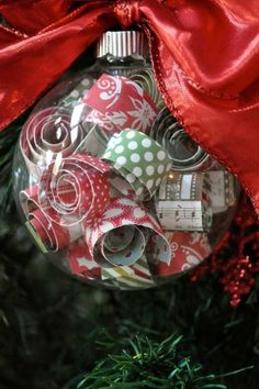 Curled scrapbook paper ornament by mollie