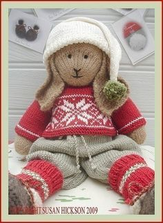 BO Rabbit / Bunny PDF Toy Knitting Pattern / par maryjanestearoom
