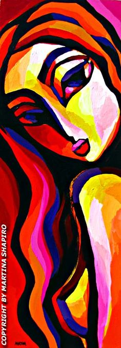 Red Nude Abstraction original acrylic painting by artist Martina Shapiro, contemporary fine art nudes