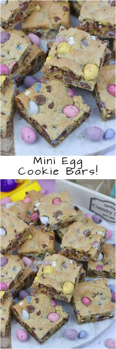 Mini Egg Cookie Bars! A Yummy Mini Egg & Chocolate Chip Cookie Traybake perfect for Easter.