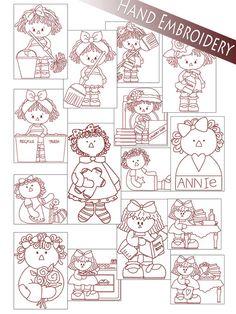Hand Embroidery Patterns - Redwork Annie Designs - Raggedy Ann in 4 Sizes - PDF - Instant Download
