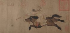 Stag Hunt Artist: Attributed to Huang Zongdao (Chinese, active ca. 1120) Formerly Attributed to Li Zanhua (Chinese, 899–936) Period: Song dynasty (960–1279) Culture: China Medium: Handscroll; ink and color on paper Dimensions: Image: 9 11/16 × 31 1/16 in. (24.6 × 78.9 cm) Overall with mounting: 10 1/8 in. × 22 ft. 7 1/4 in. (25.7 × 689 cm) Classification: Paintings