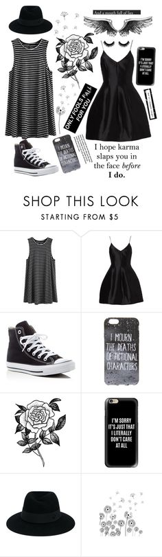 """""""Black And White Set"""" by watermelonandmusyc ❤ liked on Polyvore featuring Converse, Forever 21, Casetify and Maison Michel"""