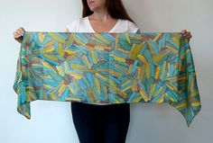 Hand Painted Silk Scarf Kathy One of a Kind by littlethingsstudio, $80.00