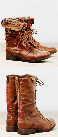 American eagle mid calf lace leather boots | HIGH RISE FASHION