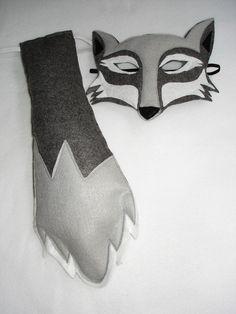 Children's WOLF Felt Mask and Tail Set. $28.00, via Etsy.