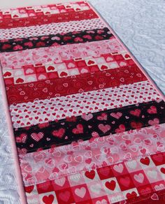Valentine's Table Runner Quilt Hearts Pink Red by KeriQuilts, $30.00