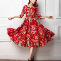En lin rouge robe à fleurs Printemps robe mi-longue robe lin