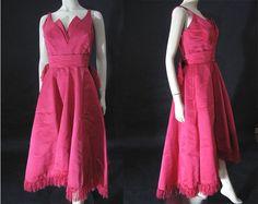 High-Style Grenelle Estevez Silk Faille 1950's Cocktail Dress