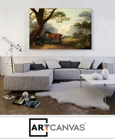 Ready-to-hang Pasture near Cherbourg - Normandy 1872 Canvas Art Print for Sale canvas art print for sale. Free hanging accessories and insurance. Grand Canal, Sistine Chapel Ceiling, Banksy Canvas, The Embrace, John James Audubon, Le Palais, Art Prints For Sale, Canvas Art Prints, Couch