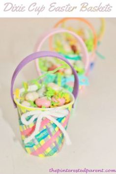 Dixie Cup Easter Basket Craft - Very cute idea to give as small treat gifts for a classroom or daycare.