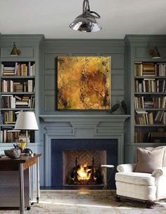 deep grey-blue, built-in bookcases with jointed sconces above, herringbone detail in fireplace.love the detail and the color. Inspiration for basement built-ins and fireplace mantel and surround Built In Bookcase, House Design, Fireplace Design, Family Room, New Homes, Interior Design, Fireplace Surrounds, House Interior, Fireplace