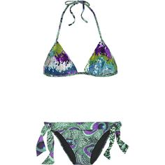 La Perla Sequined peacock-print bikini ($510) ❤ liked on Polyvore featuring swimwear, bikinis, swimsuits, bathing suits, women, halter swimsuit, swimsuit tops, two piece swimsuit, halter swim top and tie bikini bottom