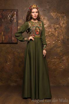 Green Olive maxi dress Spring Autumn long by AugustVanDerWalz