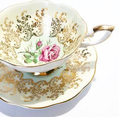 A personal favorite from my Etsy shop https://www.etsy.com/listing/279049316/vintage-tea-cup-pink-rose-gold-made-in