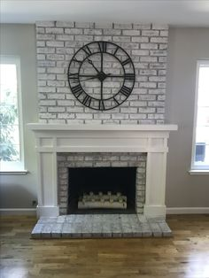 ✓ 84 Fireplace Design Ideas To Inspire Your Home Fireplace Remodel 57 White Wash Brick Fireplace, Brick Fireplace Makeover, Farmhouse Fireplace, Faux Fireplace, Living Room With Fireplace, Fireplace Surrounds, Fireplace Design, Above Fireplace Decor, Brick Fireplace Remodel