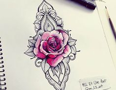 Watercolour rose ornamental tattoo