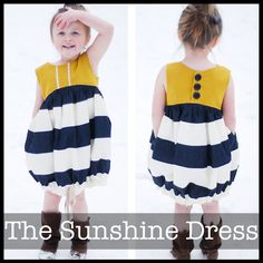 The Sunshine Dress is a twist on your typical sundress. The sleeveless bodice has a nice curved line to add a little design interest. There are front pleats perfect for a little pop of trim. A full and fun bubble skirt has in seam pockets and a drawstring bottom so you can have a full and flirty skirt or a perfectly gathered bubble.