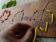 Leaves - Sewing Card - Cherry Wood, Maple Or Walnut