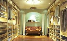 The perfect  walk in wardrobe. It even has a love seat so that you can just start at all the pretty things you have  *sigh*