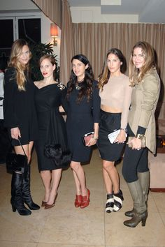 Strike the pose! Annelise Peterson, Liz Goldwyn, Shiva Rose, Minnie Mortimer Gaghan, Claiborne Swanson Frank and their beautiful FW12 Devi Kroell bags and shoes!