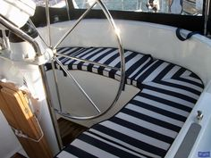 Fabric for sailboat cushions   Moody 44 Cockpit Cushions in optional Striped fabric_1 - Boat Cover ...