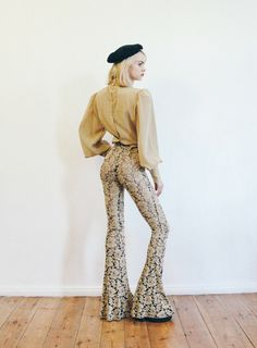 Vintage 1970's Sheer Jacquard Bell Bottoms by LAPraxis on Etsy
