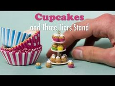 Miniature Cupcakes and Three Tiers Stand Tutorial // Dollhouse Food - YouTube