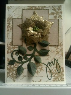 FS460: Gold Poinsettia by Precious Kitty - Cards and Paper Crafts at Splitcoaststampers