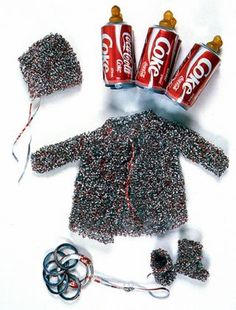 Fiona Hall - Medicine bundle for the non-born child, aluminium, rubber, plastic layette comprising matinee jacket, bootees and bonnet; six pack of baby bottles. Postmodern Art, Teaching Art, Teaching Ideas, Consumerism, Australian Artists, Fiber Art, Pop Art, Artsy, Medicine